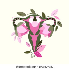 Beautiful Female Reproductive System,Flowers.Floral Feminine Gynecology.Anatomical Female Uterus,Ovaries.Vagina Symbol Menstruation.Hand Drawn Uterus,Womb Female Reproductive Organ.Vector illustration