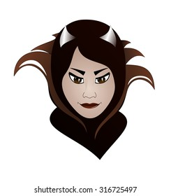 Beautiful female villain. Attractive woman with horns. Beautiful brunette.