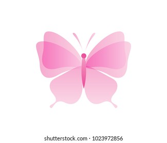 Beautiful Feminine Pink Butterfly Formed By Flower Petals Logo In Isolated White Background