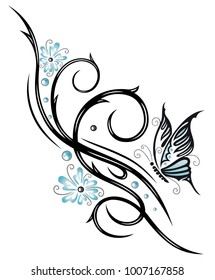 Beautiful feminine Tribal Ornament with blue flowers and butterfly.