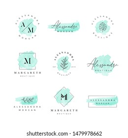 Beautiful feminine watercolor hand drawn logo