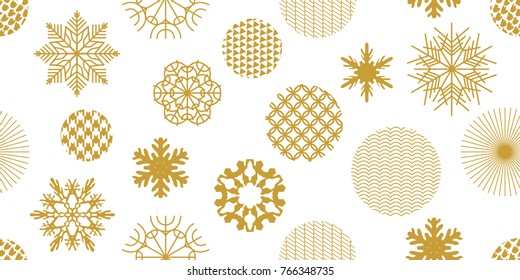 Beautiful festive Christmas background. Seamless victor pattern with geometric motifs. Snowflakes, stars and circles with different ornaments. Retro design collection. Golden on white.