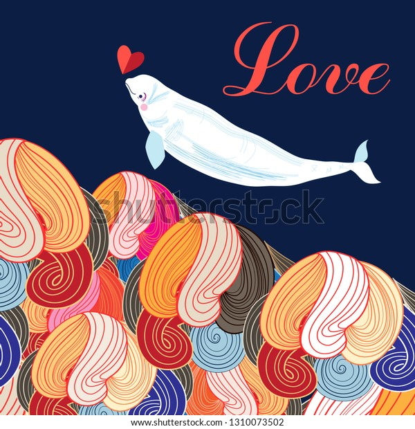 Beautiful festive greeting card with a narwhal in love on an abstract background with a heart. Design for greeting card or poster.