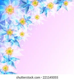 Beautiful festive wallpaper with abstract flowers. Stylish trendy light background. Greeting or invitation card for life events with place for text. Vector illustration