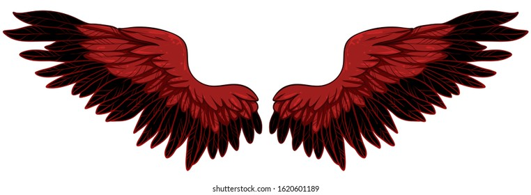 Beautiful fiery red bright wings, hand drawn vector
