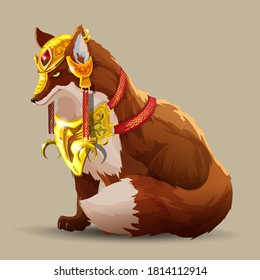 A beautiful fighting fox sits. A fox in beautiful golden armor. Fantasy animal. The wise fox looks ahead. Vector Cartoon character isolated