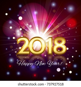 Beautiful fireworks with a bright flash of light with greetings Happy New Year! and gold number 2018