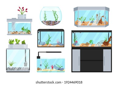 Beautiful fish tanks set. Different types. Aquarium collection. Exotic pet in your house. Editable vector illustration isolated on a white background. Colorful cartoon flat style. Graphic design
