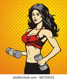 beautiful fitness girl doing exercises with dumbbels, vector image