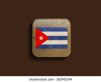 beautiful flag design of Cuba on brown color square shape icon with grunge texture. vector illustration