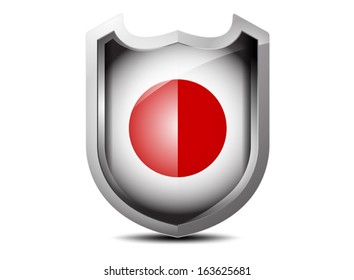 Beautiful flag of Japan metal shield on a white background