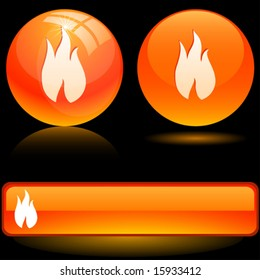 Beautiful flame icons. Vector illustration.