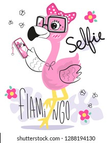 Beautiful flamingo cartoon wearing glasses and a pink ribbon take a selfie on smartphone isolated on white background illustration vector.