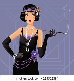 Beautiful flapper girl smoking