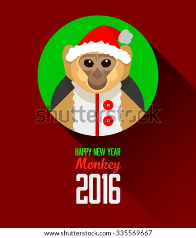 beautiful flash card greetings for the new year 2016 the year of the monkey