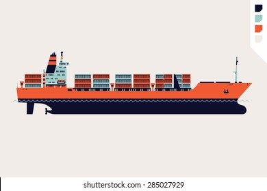 Beautiful flat four colored vector loaded container ship decorative element | Modern global cargo shipping design element. Ideal for shipment and international trade infographics and web articles