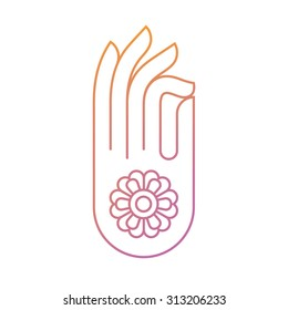 Beautiful flat thin line meditation hand gesture symbol. Gyan mudra Indian gesture of knowledge. Ideal for yoga themed graphic and web design