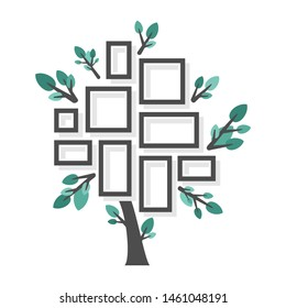 Beautiful flat tree with photo frames - vector