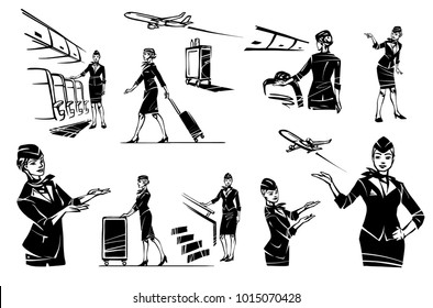 A beautiful flight attendant in the cabin of the plane. Stewardess at the gangway. The stewardess points. The stewardess goes and rolls her suitcase.