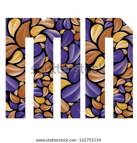 Beautiful Floral Alphabet Vintage Style Patterned Stock Vector