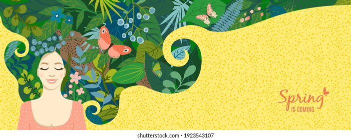 Beautiful floral background, panorama. Concept with lying girl in dream, hair of leaves, colorful flowers, butterflies. For women's day on march 8, cover social network, wedding. Vector illustration.