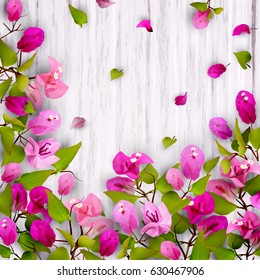 Beautiful floral background with the tropical flower Bougainvillea, on white wood. Place for the text. Vector illustration of EPS10