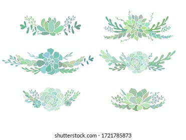 Beautiful floral compositions with succulents. Vector boutonnieres with succulent evergreen flowers isolated on white.