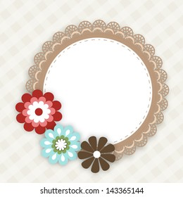 Beautiful floral decorated circle photo frame on abstract background.