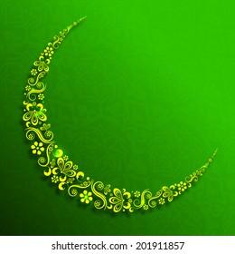 Beautiful floral decorated crescent moon on green background for the holy month of Muslim community Ramadan Mubarak celebrations.