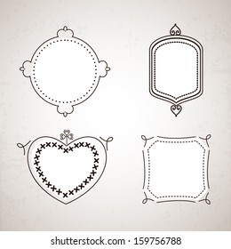 Beautiful floral decorated frame on grey background.