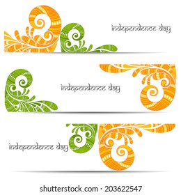 Beautiful Floral decorated Indian Independence Day set of banner.