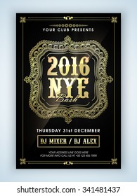 Beautiful floral design decorated Flyer, Banner or Pamphlet design for 2016, Happy New Year Eve celebration.
