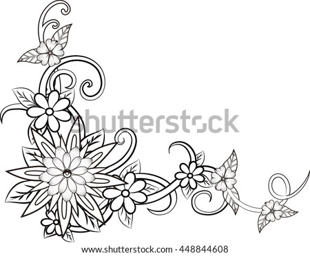 Beautiful Floral Element Blackandwhite Flowers Leaves Stock Vector