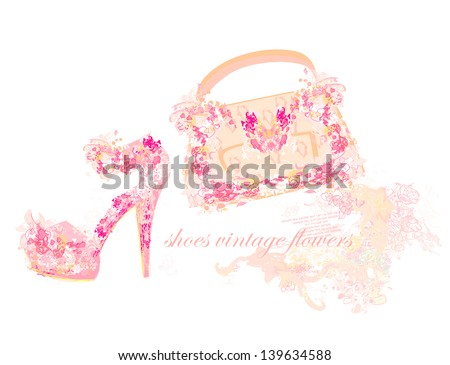 faa5221bb08 Royalty-free stock vector images ID: 139634588. Beautiful floral female  shoes and bags - Vector