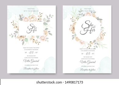 beautiful floral frame wedding invitation card template