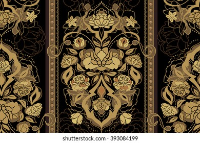 Beautiful floral golden and black classic victorian seamless pattern with rose, peony, gardenia flowers. Elegant vintage vector eastern background or texture