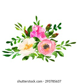 Beautiful floral hand drawn watercolor bouquet, bunch of flowers arrangement, with pink roses, white and purple flowers, isolated on white background. Can be used for invitations or wedding design