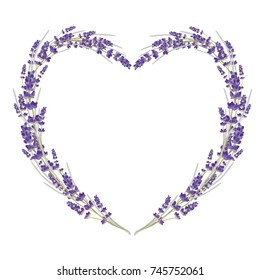Beautiful floral heart shape of lavender. Valentine card. Love gift. Vector illustration