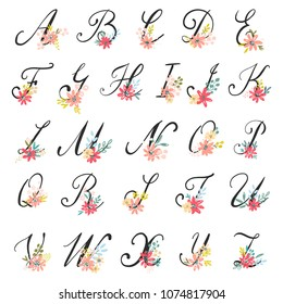 Beautiful floral letters in alphabetical order. Vector colorful flower font.