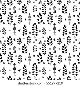 Beautiful floral ornament, Monochrome Vector seamless pattern.