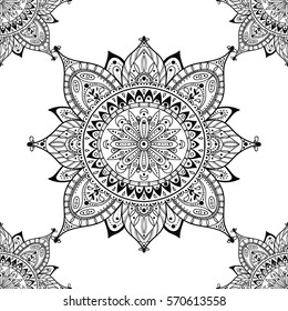 Beautiful floral ornament. Seamless black and white background