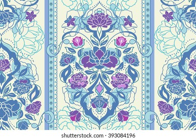 Beautiful floral pastel classic blue  Victorian seamless pattern with rose, peony, gardenia flowers. Elegant vintage vector eastern background or texture