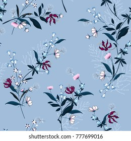 Beautiful Floral pattern in the many kind of flowers. Botanical  Motifs scattered random. Seamless vector texture. for fashion prints. Printing with in hand drawn style on  sky blue background.