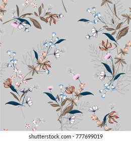 Beautiful Floral pattern in the many kind of flowers. Botanical  Motifs scattered random. Seamless vector texture. for fashion prints. Printing with in hand drawn style on light grey background.