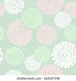 Beautiful floral pattern in pink and mint color, vector illustration background