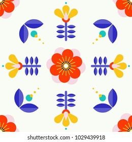 Beautiful floral pattern in scandinavian folk art style. Symmetrical background with flowers. Floral pattern perfect for wrapping paper and packaging design.