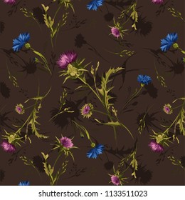beautiful floral pattern with  thistle