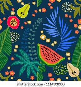 Beautiful floral pattern with tropical fruits and palm leaves. Seamless botanical print with watermelon and pears on dark background. Retro textile collection.