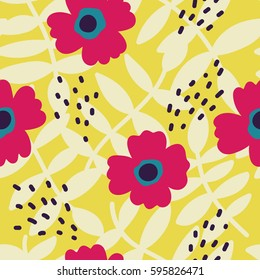 Beautiful Floral pattern. Vector seamless texture with flowers, leaves and abstract strokes. Flowers background in vintage style.