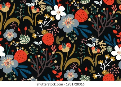 Beautiful floral pattern in vintage folk style. Hand-drawn flowers, leaves, berries on a dark background. Creative botanical backdrop for prints, wallpapers, fabrics, covers...Vector illustration.